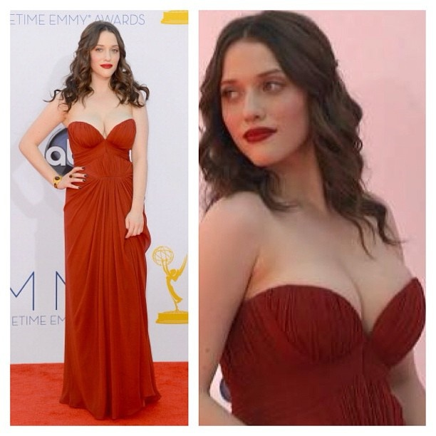 Wearing red lipstick with a red dress.   {Kat Dennings #Emmys}