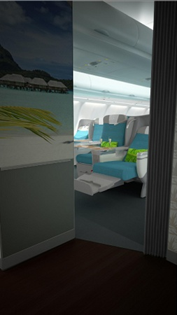 The new Business Class entrance on Air Tahiti Nui.
