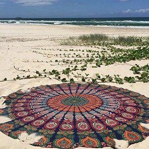 Amazon.com: 1 X Indian Mandala Round Roundie Beach Throw Tapestry Hippy Boho Gypsy Cotton Tablecloth Beach Towel , Round Yoga Mat: Home & Kitchen