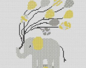 Counted Cross Stitch Pattern, Nursery Art, New Baby, Animals, Elephant, Balloons, Instant PDF Download