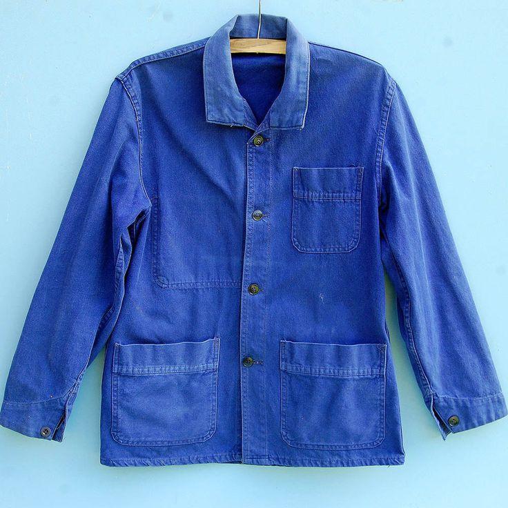 small vintage french chore jacket bleu de travail blue. Black Bedroom Furniture Sets. Home Design Ideas