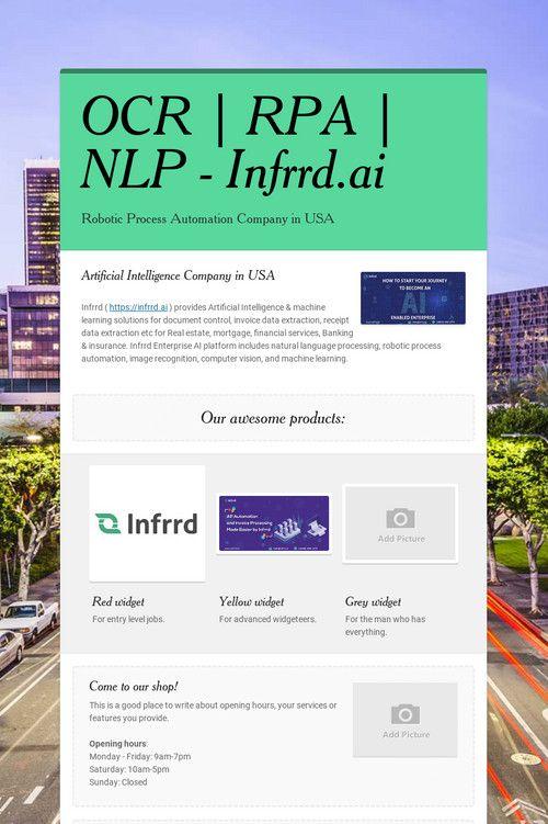 OCR | RPA | NLP - Infrrd ai | Artificial Intelligence