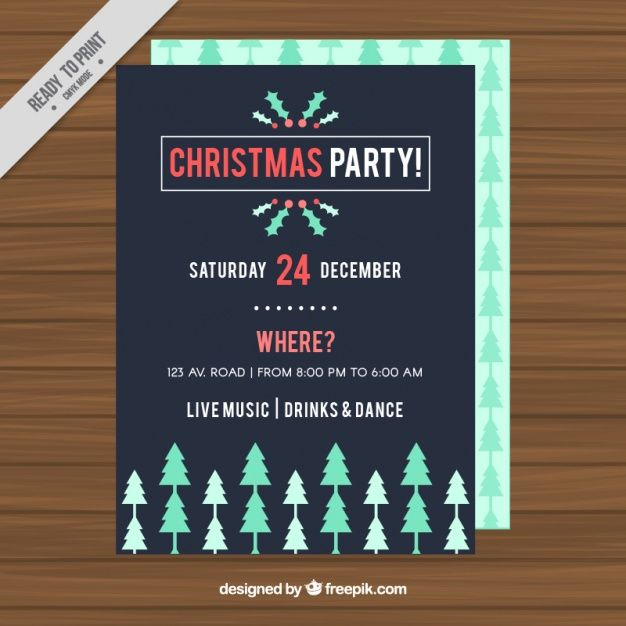 Christmas party poster with trees in green tones Free Vector