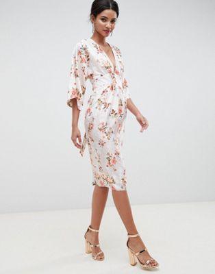 asos design kimono midi dress in printed floral jacquard