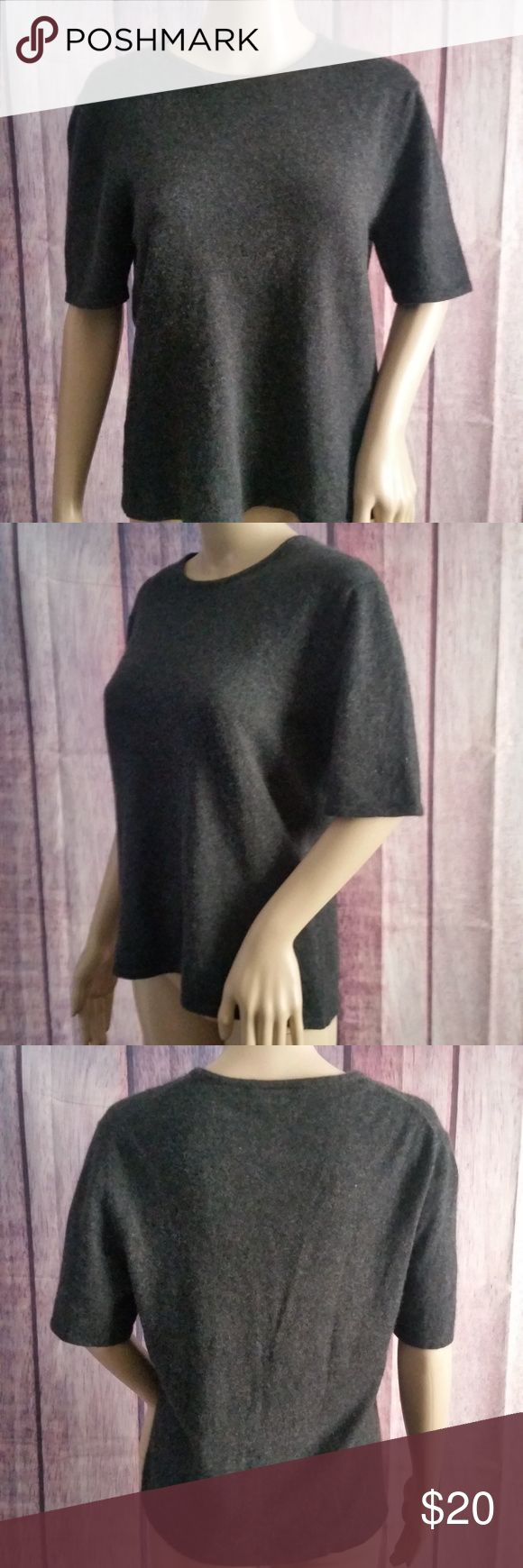 """Ann Taylor Cashmere Sweater Blouse Gray L Ann Taylor Womens Cashmere Sweater Gray Short Sleeve Large  Bust: 21"""" laying flat Shoulder to hem: 25""""  Trusted Seller. Fast shipping.  Please check out my other listings. Items being added daily. Thanks for stopping in!  Posh By Design Ann Taylor Factory Sweaters"""