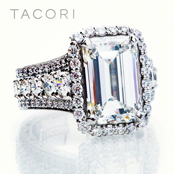 Another custom-created beauty, crafted for this equisite 5carat emerald-cut diamond. Simply gorgeous.  #Wishlist