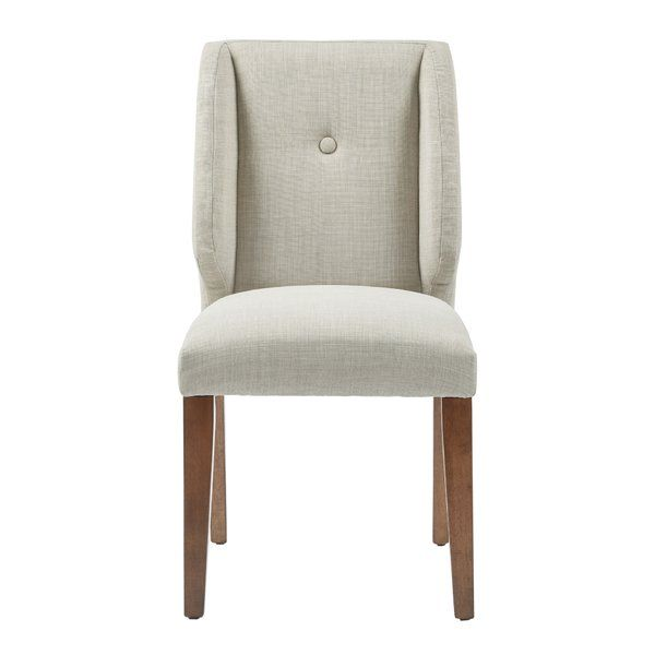 The Portland side chair and its updated wing back adds a touch of urban sophistication to your dining room. Featured in a pecan wood finish with light grey upholstery and comes in a set of 2.