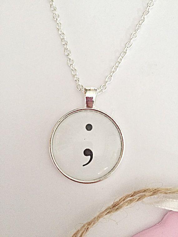 Semicolon Glass Necklace  Awareness Jewelry  Silver by EmmaFleet
