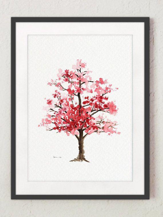 Cherry Blossom Tree Watercolor Painting, Floral Giclee Wall Art Print, Baby Girl Nursery Decor, Pink Blossom, Oriental Art Illustration – Krümelmonster