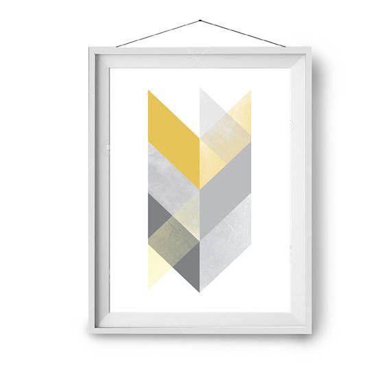 Yellow Print, Wall Art, Scandinavian Print, Chevron Art, Yellow & Grey Print, Boho Art, Mustard Print, Modern Poster, 12x16 in, Print Avenue
