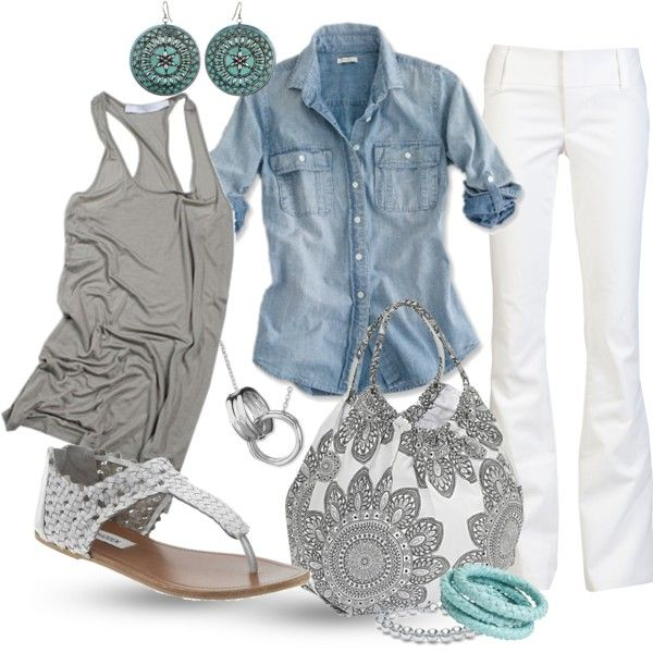 chambray/ white denim: Dreams Closet, Color, Chambray Shirts, Denim Shirts, Spring Summ, White Pants, Casual Outfits, White Jeans, Bags