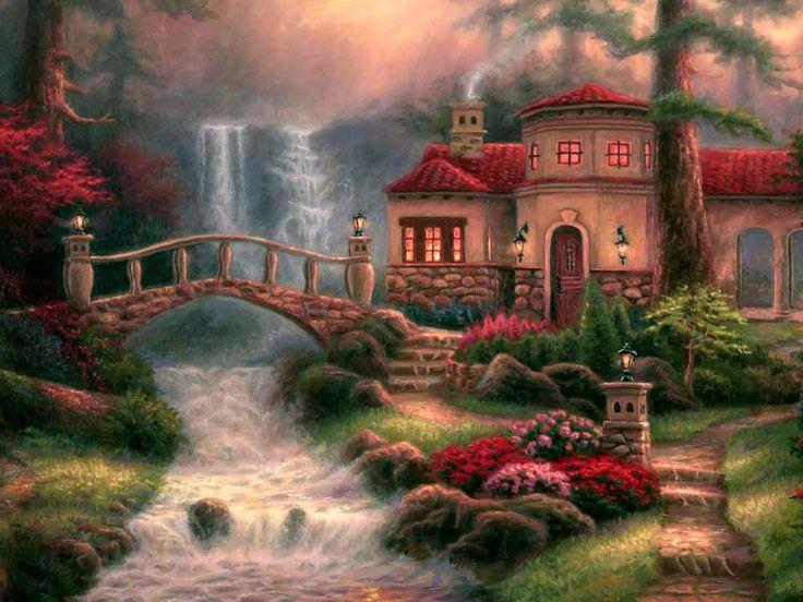 Thomas Kinkade Fall Wallpaper Fantasy Digital Art Manzara Resimleri ༺ ༻illustration