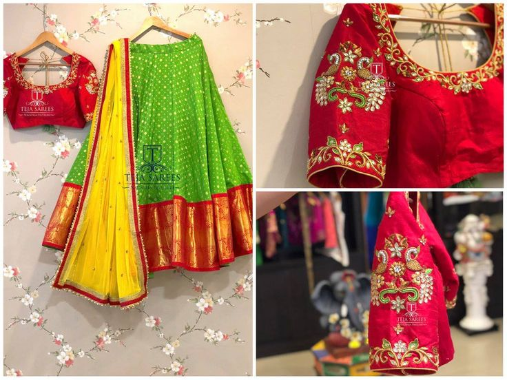 Sampradaya - 025 Life is Short Make every outfit Count !!! Beautiful Parrot green color lehenga and red color designer blouse with floret lata and dancing peacock design hand embroidery bead thread and kundan work. For orders/queries Call/ what's app on 8341382382 or Mail tejasarees@yahoo.com