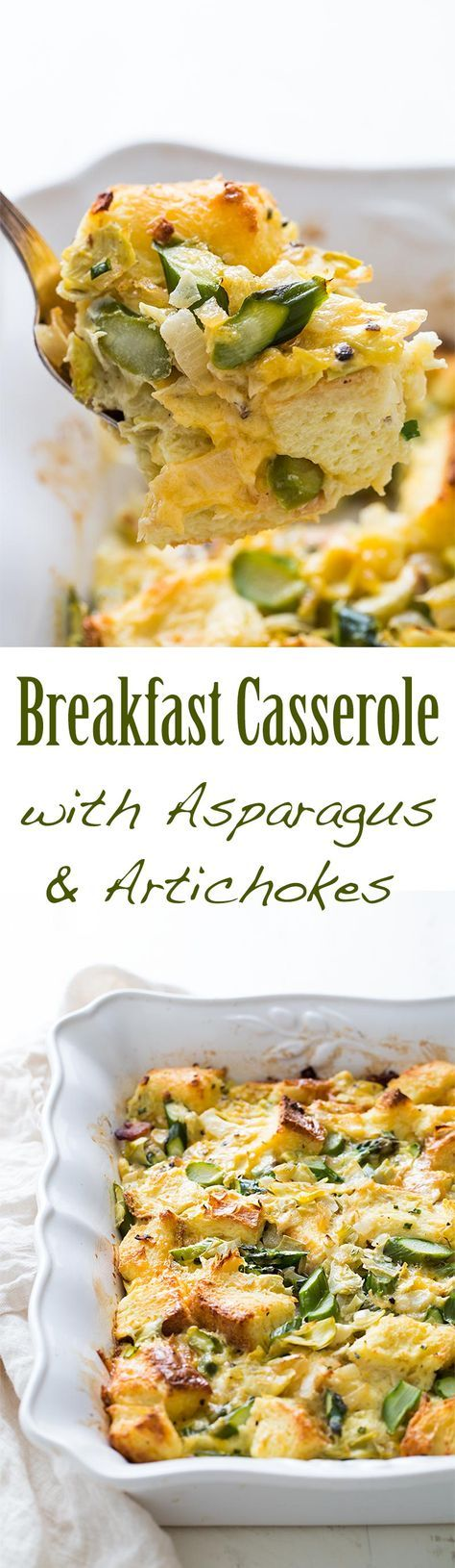 Asparagus and artichoke breakfast casserole with bacon, cheddar cheese, rustic bread, milk and egg. Perfect for a Sunday brunch! On SimplyRecipes.com