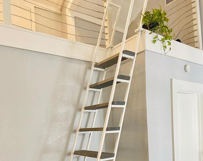 10ft Loft Ladder Librarian Free Shipping To Your Door Etsy In 2020 Loft Ladder Ladder Black Decor