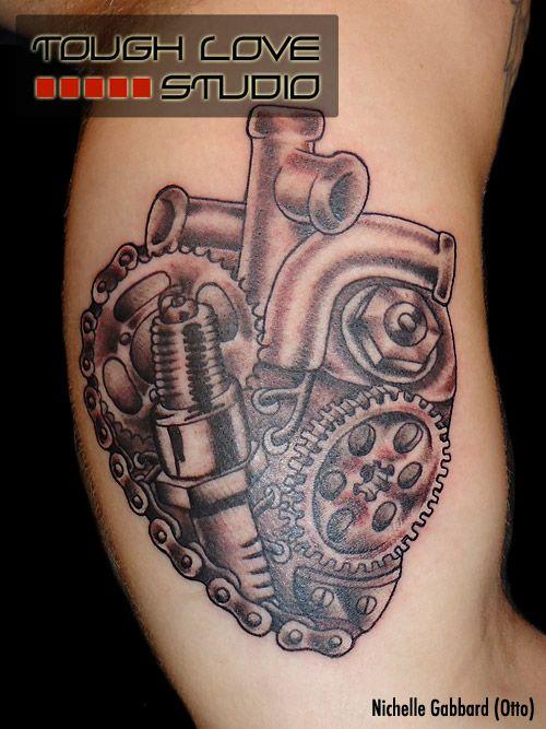 Mechanical Heart Tattoo | Nichelle Gabbard | Tough Love Studio