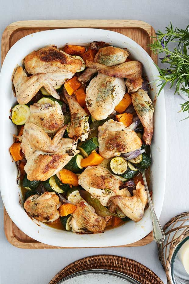 Recipe Ruth Pretty S Chicken And Autumn Vegetable Bake With Tarragon Butter Recipes Baked Vegetables Stuffed Peppers