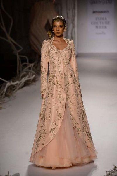 Amazon India couture week 1015 gaurav gupta, silt and cipher collection, jacket lehenga layered full sleeves , raw silk, deep v neck