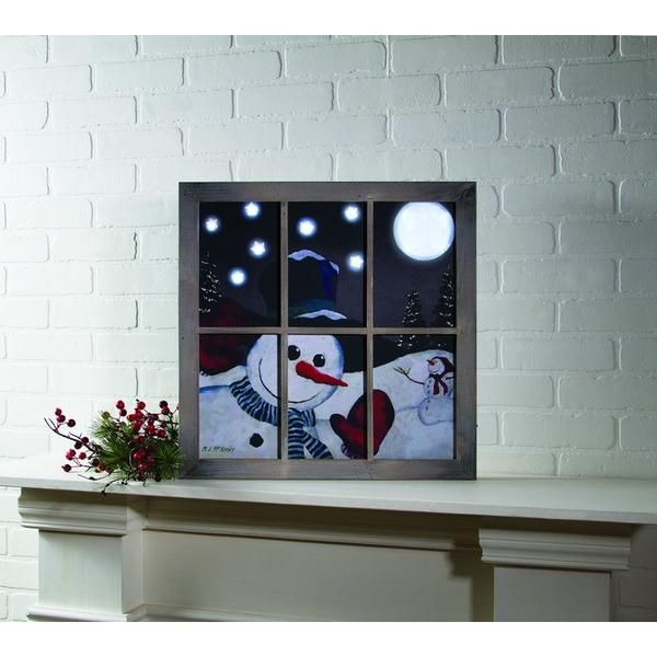 """Dimensions: 20""""W x 20""""L Stretched canvas Flickering Lights AA Batteries On / Off…"""