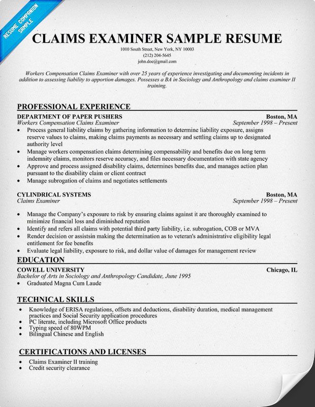 Claims Examiner Resume Resumecompanion Com Job Search
