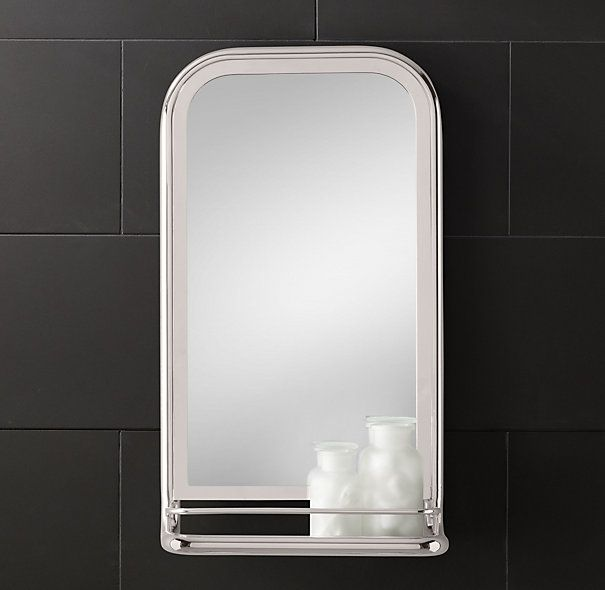 Astoria mirror with tray antique brass master bath for Mirrored bathroom tray