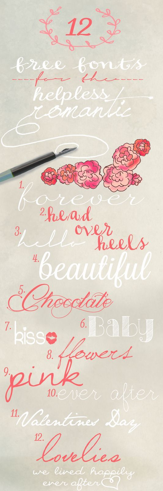 12 Free Fonts for the Helpless Romantic - We Lived Happily Ever After #fonts