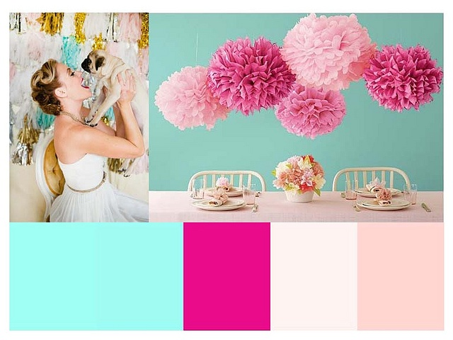 Pink and turquoise wedding palette