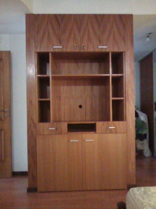 Mueble empotrado TV + Guardado, Habitaación principal. Enchapado Cedro, Lustre natural poliuretano.