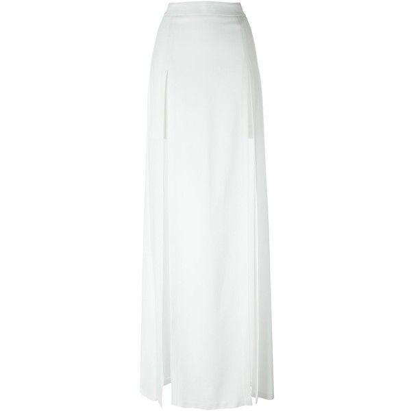 Chalayan Long Split Skirt ($779) ❤ liked on Polyvore featuring skirts, white, chalayan, white skirt, long white skirt, long skirts and white maxi skirt