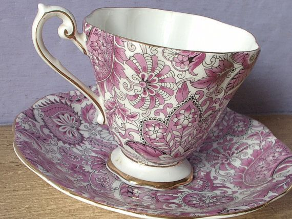 Antique Royal Standard pink paisley tea cup and saucer, pink tea cup, English…