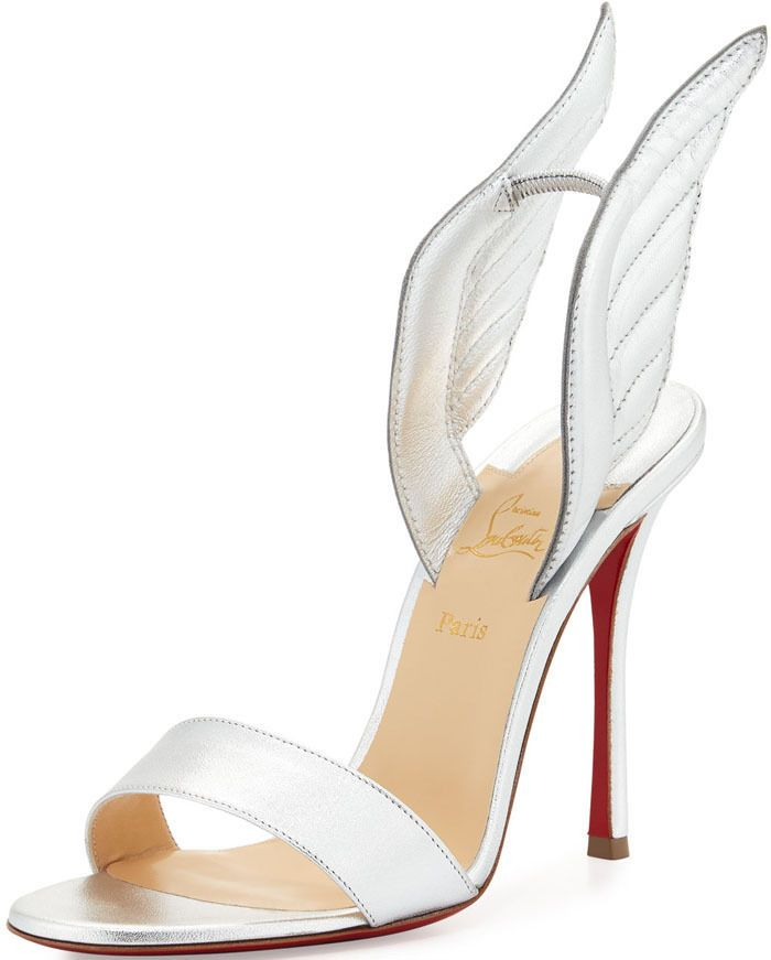 bf234063db0 NEW Christian Louboutin 'samotresse' 100 Wing Silver Sandals Shoes ...