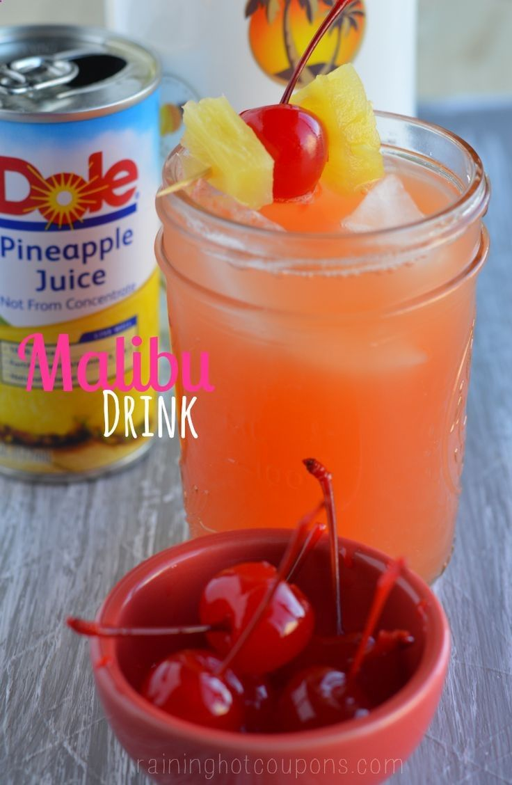 Malibu drink -1 small can of pineapple juice - 1 ounce of grenadine 1-2 ounces of Malibu Pineapple Rum - 1 Tablespoon of Cherry juice; Mix all ingredients together and add two ice cubes or so depending on the size of your glass. Add in some pineapple chunks and cherries