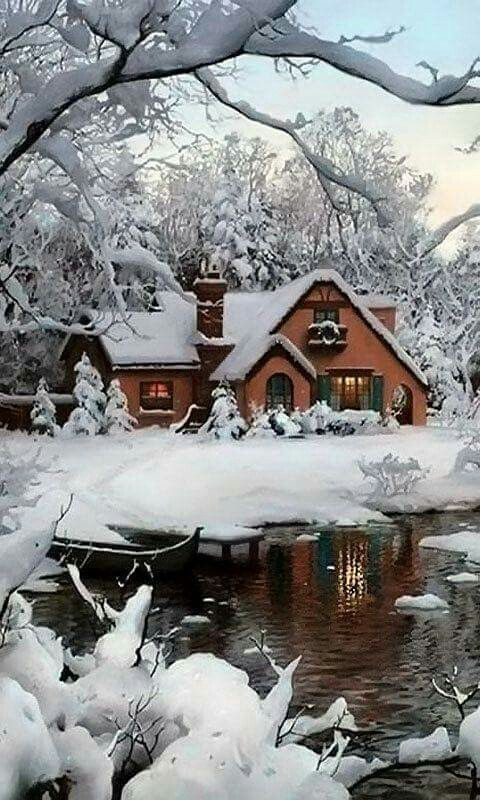 It's a Thomas Kinkade brought to life! ... This would be my dream home :)