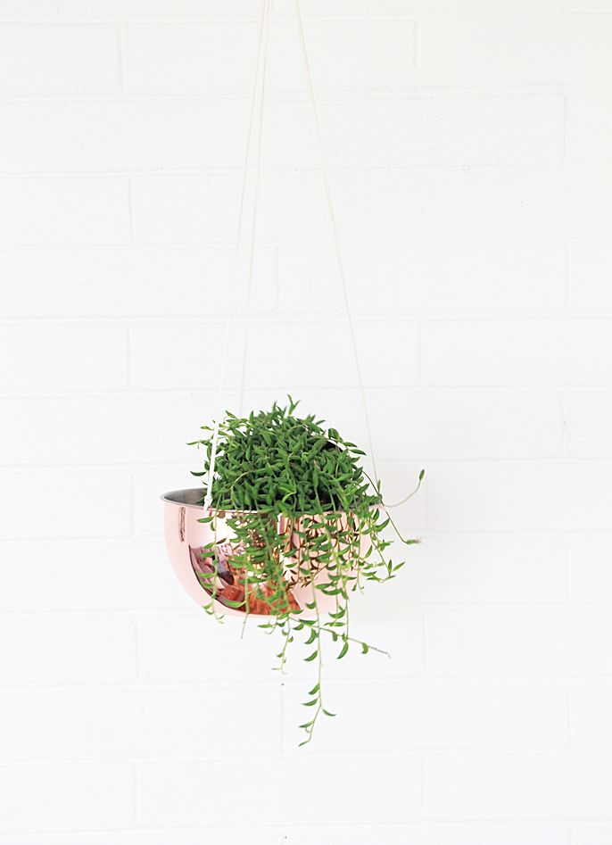 diy copper hanging planter,