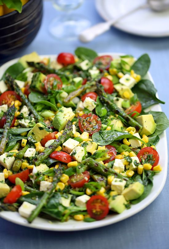 Asparagus, avocado, corn and feta salad with lemon-basil vinaigrette