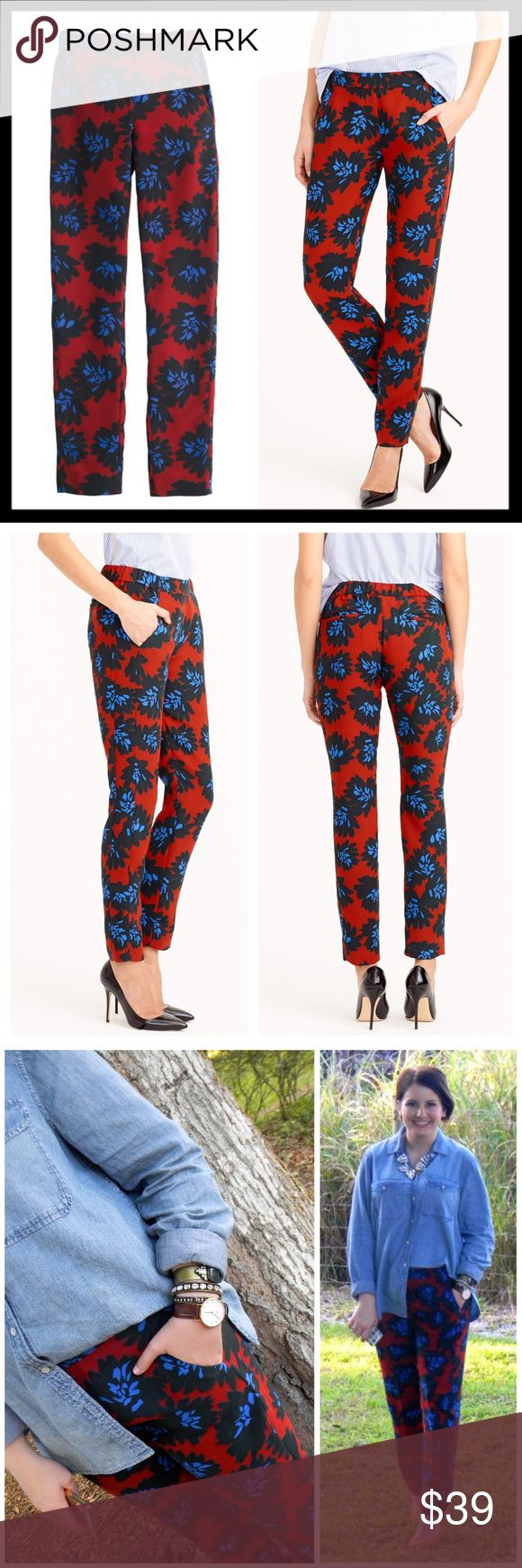 "j. crew // firework flower print jogger pants What can we say? We love a good floral. This one is inspired by a vintage print, and we're so excited about it that it's popping up everywhere—including here. These drapey slim pants are a quick and easy (and stylish) solution to a big night out. Polyester. Partial elastic waist. Slant pockets. Machine wash. Sits at hip. Slim through hip and thigh, with a slim, straight leg. 28.5"" inseam. In great preowned condition. Such a fantastic piece! J…"