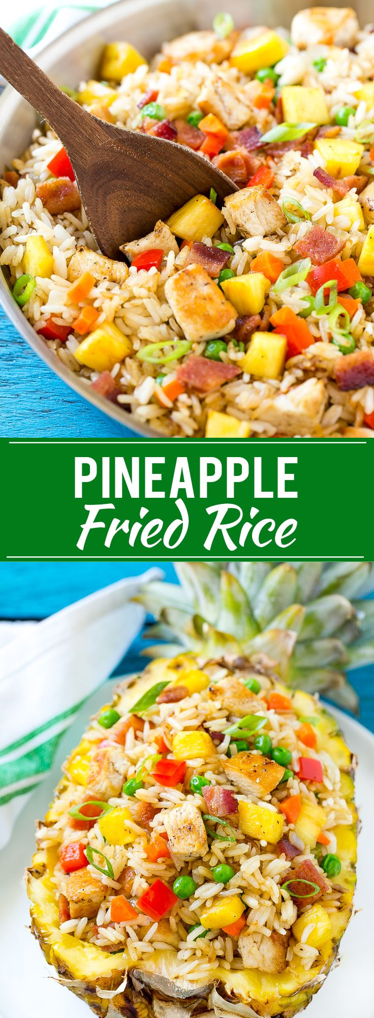 This recipe for pineapple fried rice is loaded with chicken, bacon, crunchy veggies and juicy pineapple. A simple and easy main course or side dish that's MUCH better than take out.