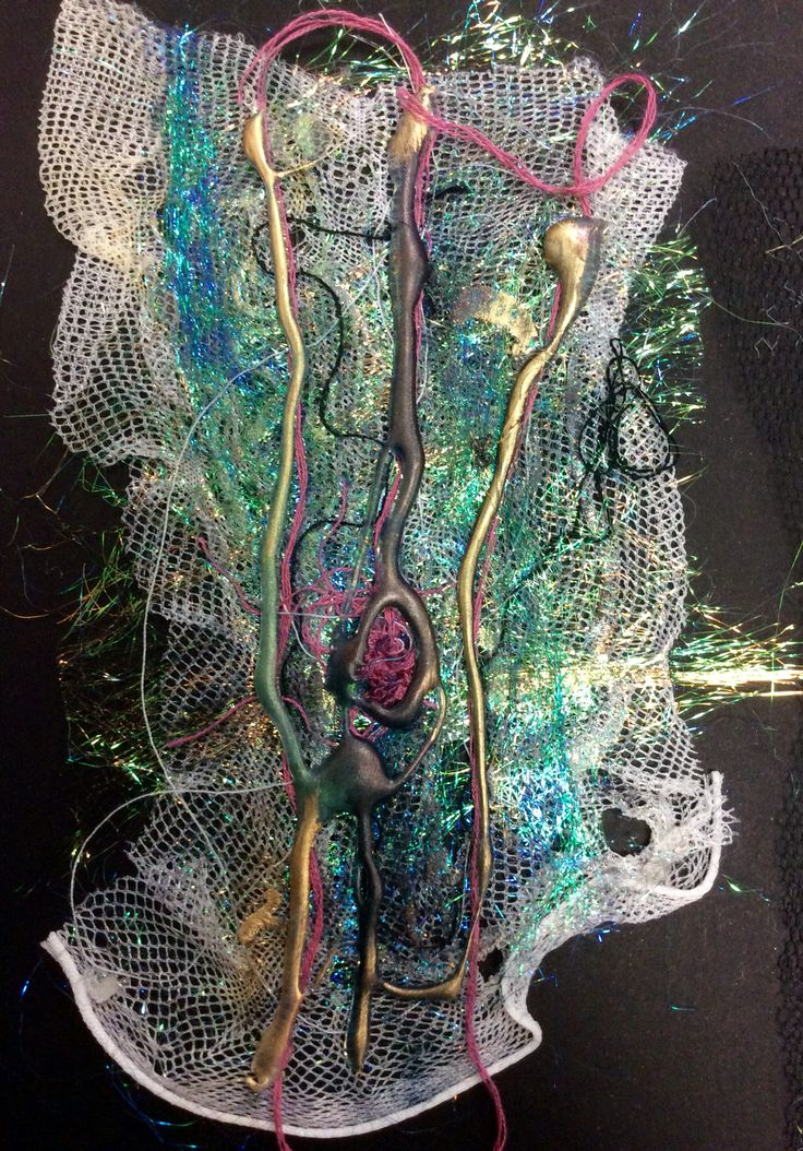 Glue gun sample with treasure gold decoration, inks and angelina fibres