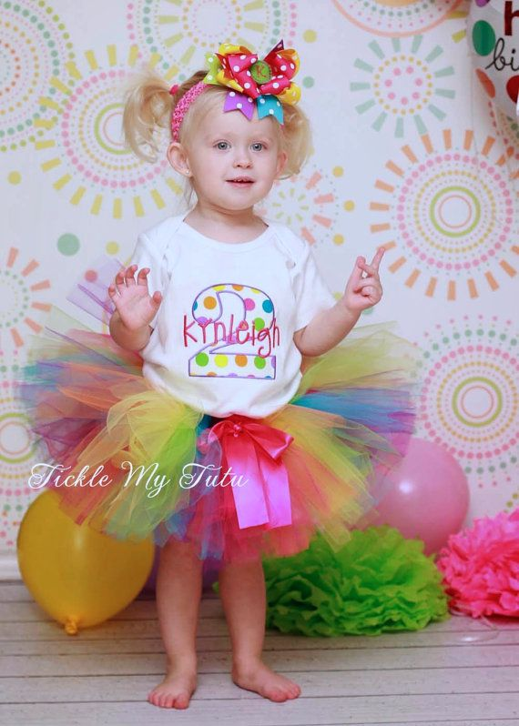 Preppy Polka Dot Birthday Tutu Outfit, Rainbow Candy Shop Theme Tutu Outfit, Rainbow Polka Dot Tutu Set *Bow NOT Included*