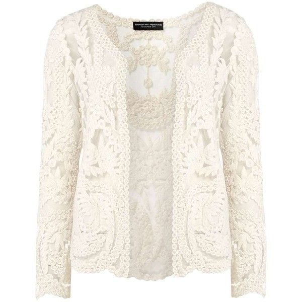 Dorothy Perkins Embroidered lace cardigan ($49) ❤ liked on Polyvore featuring tops, cardigans, white, white lace cardigan, long sleeve cardigan, white long sleeve top, lace top and long sleeve jersey
