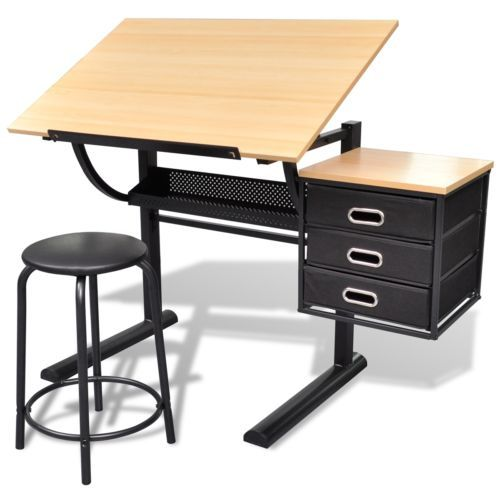 Scrivania-inclinabile-con-due-cassetti-tavolo-da-disegno-con-sgabello