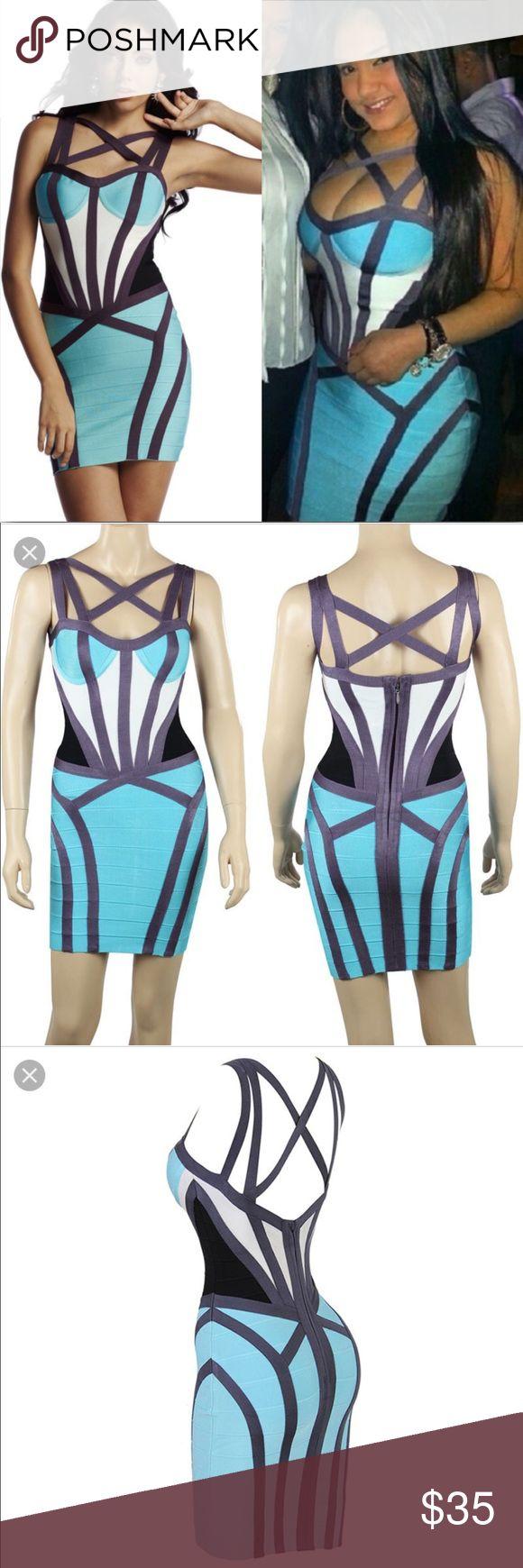Bandage blue and purple cross cross dress Brand new Body contouring dress... high quality bandage material. Dresses