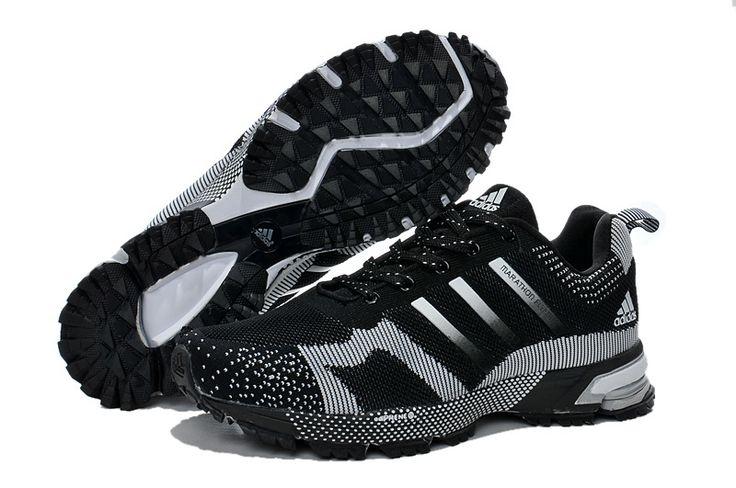 Hombres Adidas Maratón Tr 13 Flyknit Zapatillas Deportivas - Gris Negro