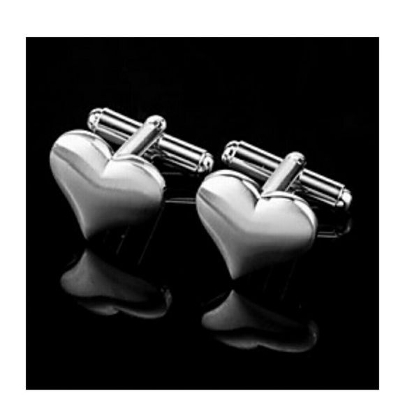 Stainless steel Heart cufflinks Shiny Comes in a black gift box and a tiny cleaning cloth. Perfect gift for anyone. Jewelry
