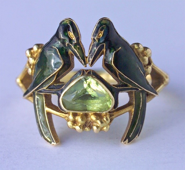 RENE LALIQUE 1860-1945  'The Betrothal -To Have & To Hold'  Art Nouveau Ring   Gold Enamel Peridot  H: 1.6 cm (0.63 in) W: 1.8 cm (0.71 in)   Marks: 'LALIQUE'  French, c. 1904  (Ref: 5011): Rene Laliqu, Artnouveau, Gold Rings, Art Deco Weddings, René Laliqu, Jewelry Rings, Art Nouveau Rings, Enamels, Engagement Rings