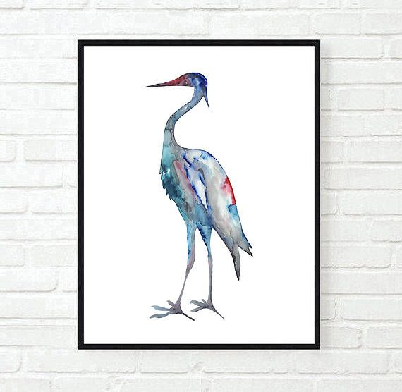 Crane #1 - ink painting - bird art - instant download - printable jpeg by purdeybarcelona on Etsy