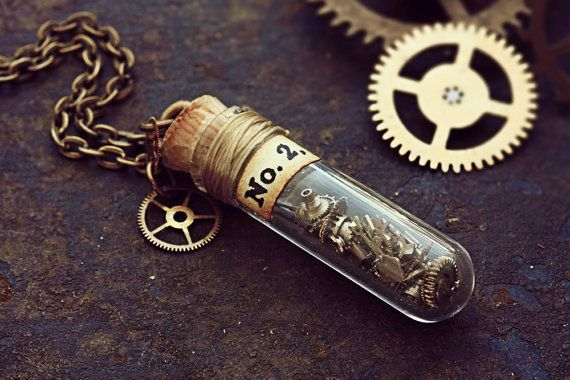 Watch Part Necklace Tiny Test Tube Clock Part Jewelry Miniature Cog Gears Glass Vial Pendant Steampunk Costume