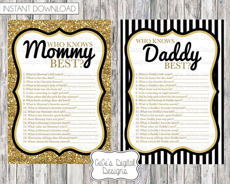 Baby Shower Games For Husband And Wife ~ Baby shower game who knows mommy daddy best black white