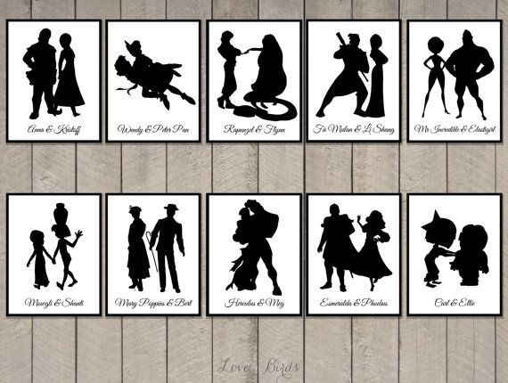 Disney Couple Cards Silhouette tabel cards por SophiesLoveBirds