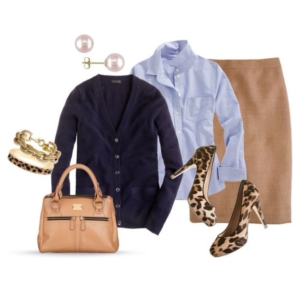 camel pants/skirt, chambray shirt, black/navy cardigan, leopard flats, gold accessories.